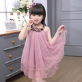 2017 New Fashion Summer Girls Dress O-neck Sleeveless Cute Child Clothing Solid Lace Dresses