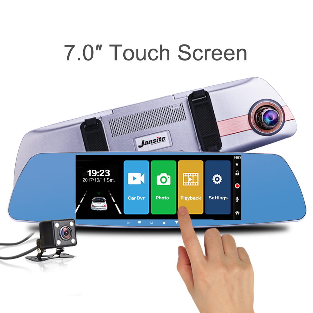 "Jansite nieuwste 7.0 ""touchscreen auto dvr camera super nachtzicht review spiegel dvr detector video recorder 1080 p auto dvrs"