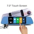 Jansite más nuevo 7,0 Touch pantalla coche DVR cámara Super visión nocturna examen espejo Dvr Detector de grabadora de vídeo de 1080 P coche dvr