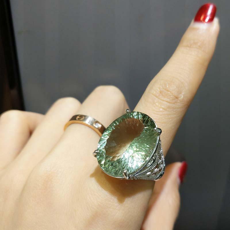 FLZB Beautiful ring 925 sterling silver with natual green amethyst concave cut ov 17 23mm 28