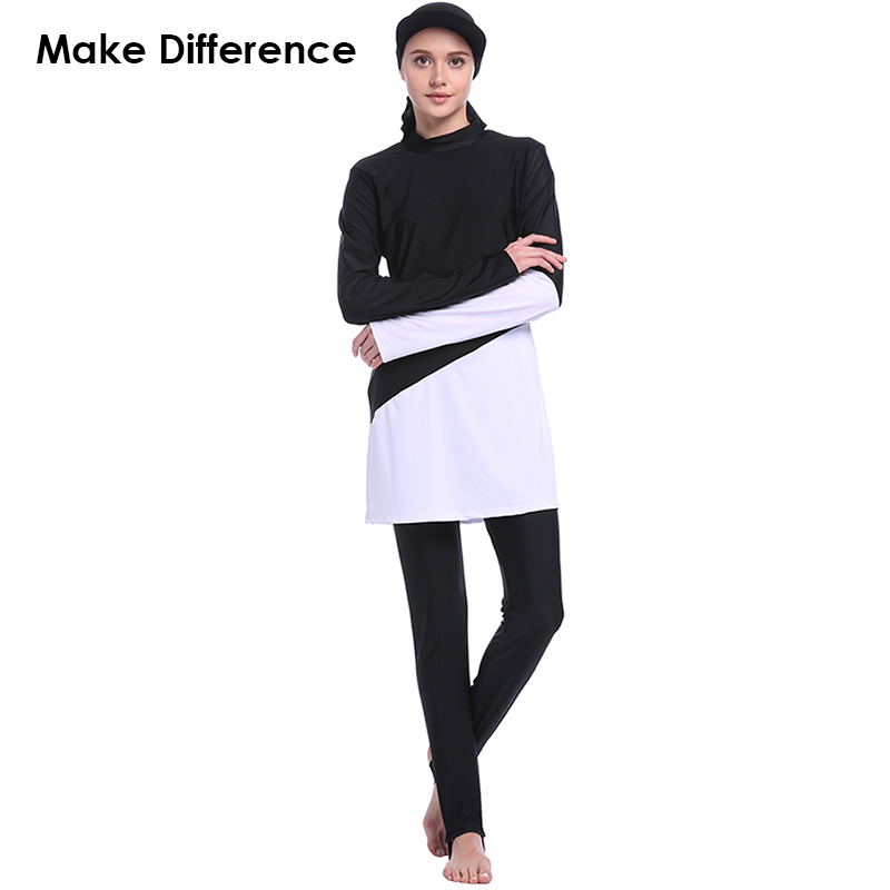 Make Difference Black White Design Muslim Swimsuit Modest Arab Muslim Swimwear 3 Pieces Separated Hijab Burkinis for Women Girls make difference leopard print islamic swimsuit arab swimwear 2 pieces connected hijab muslim swimsuit burkinis for women girls