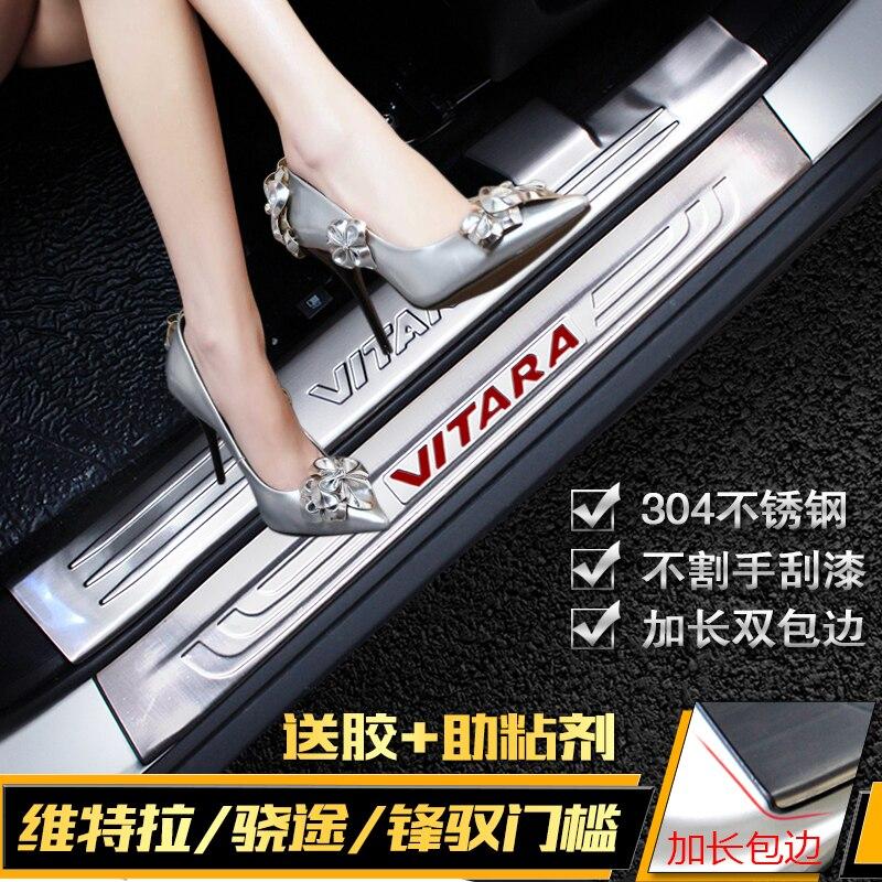 Yüksek Kaliteli Paslanmaz Çelik sürtme plakası kapı eşiği Trim Suzuki vitara 2015-2018 Araba Aksesuarları araba-styling Araba kapakları
