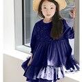 Платье принцессы для девочек 8 10 11 12 13 год кружева цветок бежевый синий дети девочки платья осенняя школа детская одежда осень 2016