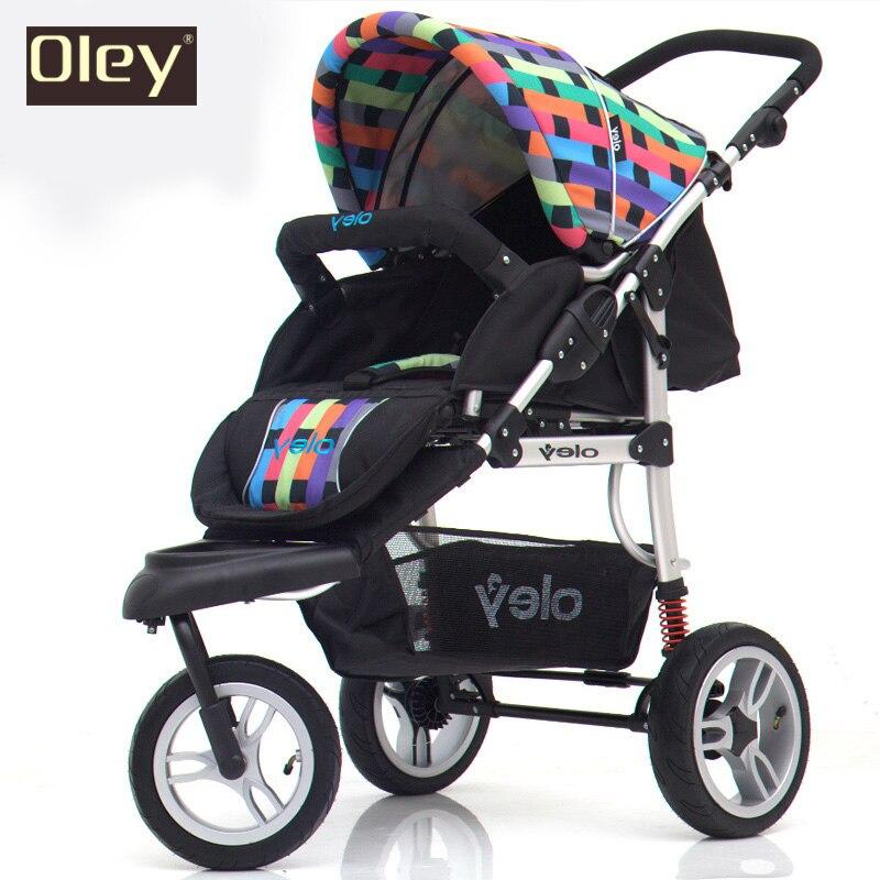 Chariot bébé, poussette enfants, paysage haut, excellente Suspension 3 roues tricycle driewieler bébé poussette