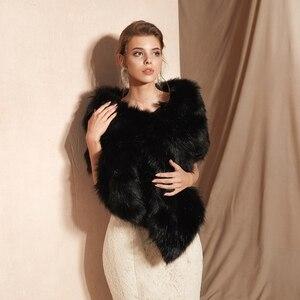 Image 3 - سترة سوداء للحفلات المسائية من صور حقيقية لعام 100% ، معطف للشتاء للزفاف من الفرو الصناعي ، معطف للشتاء للنساء ، شال للشتاء