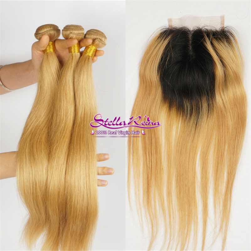 Ombre T1b27 Dark Roots Blonde Peruvian Virgin Hair Closure Straight