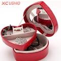 Heart Shape Jewelry Display Box Crocodile Pattern PU Leather Jewellery Storage Organizer Detachable Display Casket