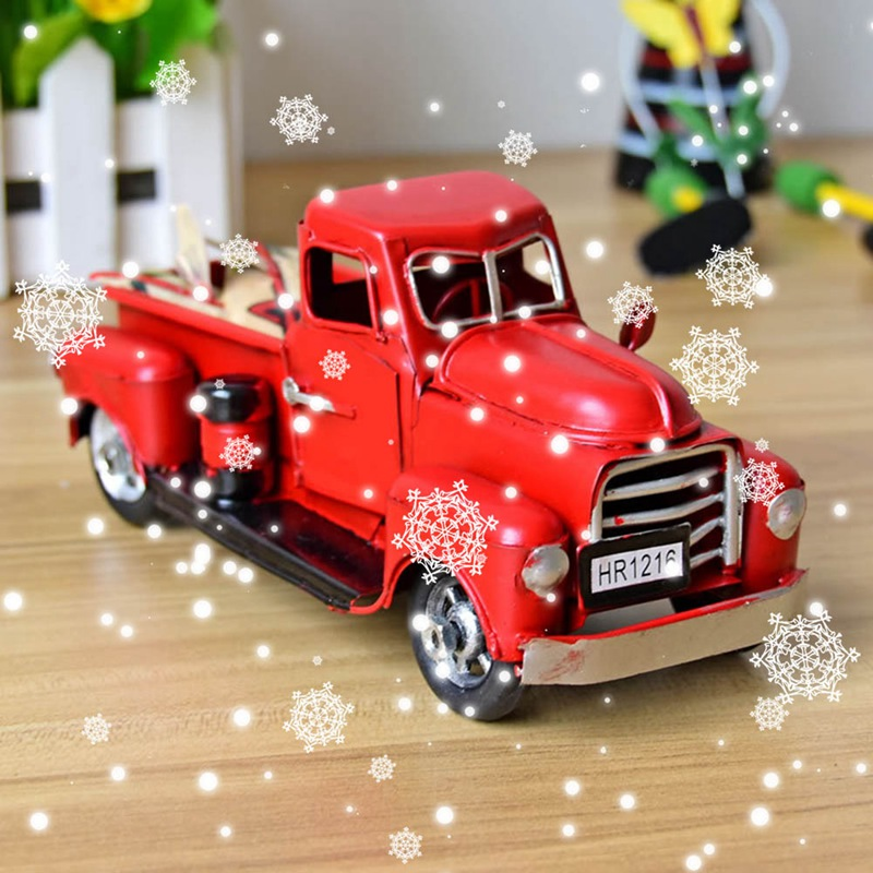 Cute Little Metal Christmas Red Truck Vintage Red Truck Christmas