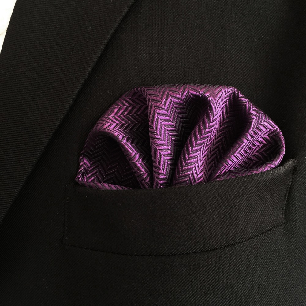 CH11 Purple Solid Silk Mens Pocket Square Wedding Classic Handkerchief Dress Accessory Hanky
