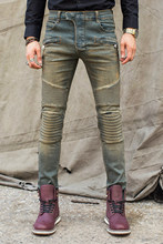 High Quality Men Denim Biker Jeans Patchwork Slim Zipper Skinny Pencil Elastic Denim Jeans Ripped Motorcycle Straight Men Jeans