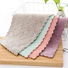 Household Kitchen Towels Absorbent Thicker Double-layer Microfiber Wipe Table Towel Cleaning Dish Washing Cloth