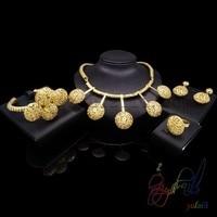 Gratis verzending gold bal statement hanger ketting sets groothandel afrikaanse bridal set Guangzhou Yulaili mode-sieraden