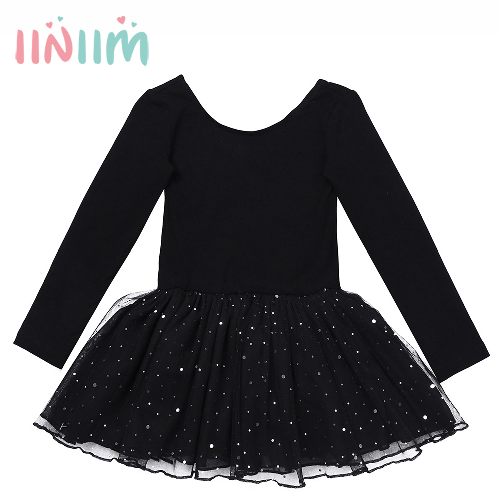 Elegant Autumn Winter Formal Ballet Dancer Dress for Girls Long Sleeves Shiny Kids Ballet Tutu Dancing Gymnastics Leotard Dress недорго, оригинальная цена