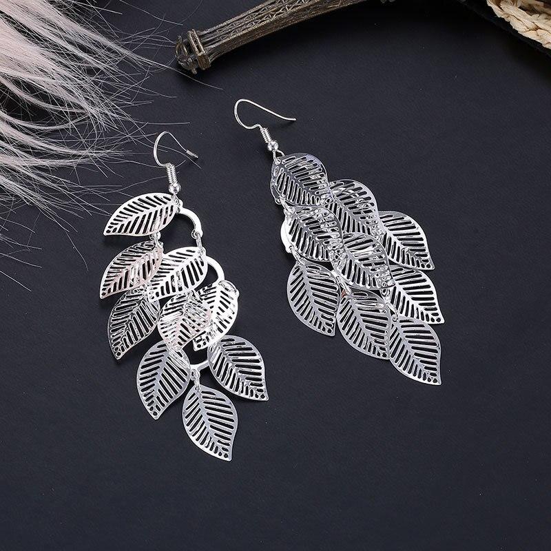 Fashion Hollow Flower Gold Color Leaf Drop Dangling Earrings pendientes Jewelry Wedding Bridal Tassel Long Earrings for women 3