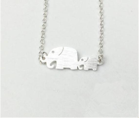 DIANSHANGKAITUOZHE 10Piece Baby And Mom Chunky Elephant Choker Necklace Women Animal Collares Women Jewelry Accessories