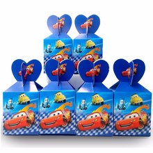 6pcs/set  cars Lightning Mcqueen Paper Candy Box Party Supplies candy box Baby Shower Birthday Decoration
