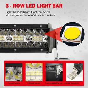 Image 2 - CO światła 3 wiersze 390 W światło terenowe LED Bar 12D 22 cal LED robocza listwa oświetleniowa Flood Spot wiązki 4x4 pasek Led do ATV SUV samochodów ciężarowych 12 V 24 V