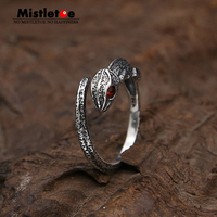 Genuine 100 925 Sterling Silver Vintage Punk Locomotive Animal Lizard Chameleon Ring For Women Men Fashion