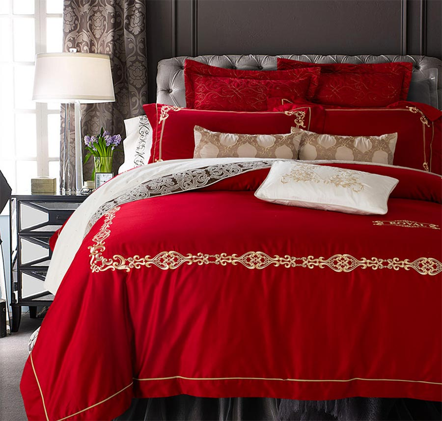 Elegant retro red palace bedding set adult,full queen king 60s cotton vintage home textile bedsheet pillow cases comforter cover