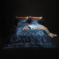 Роскошные Шелковые постельное белье двуспальное синий утешитель набор для взрослых пододеяльник синий простыней домашний текстиль мягкие