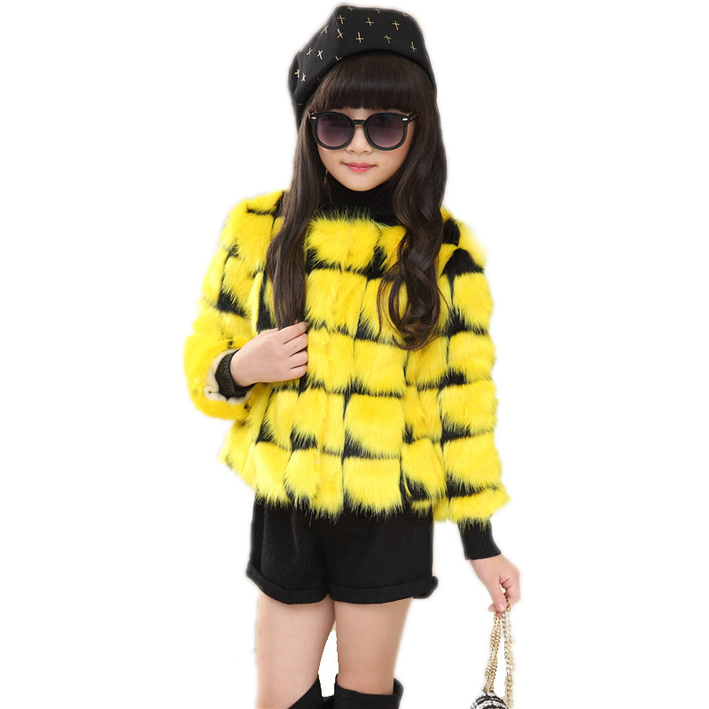 ФОТО Kids Coats Girls Winter 2017 Fashion Faux Fur Thicken Warm Plaid Winter Jacket Brand Casaco Infantil Girl jackets Coat 4 Colors