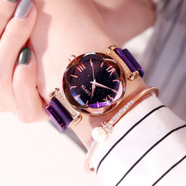 Luxury Women Watches Fashion Elegant Magnet Buckle Vibrato Purple Ladies Wristwatch 2019 New Starry Sky Roman Numeral Gift Clock 4
