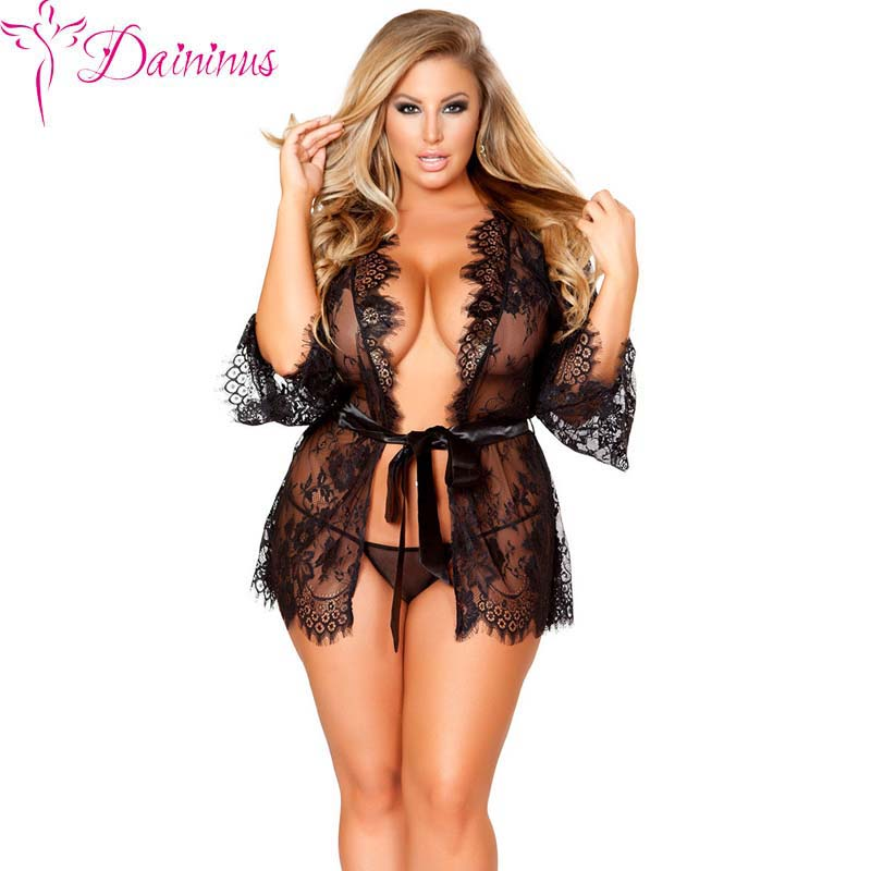 Daininus Sexy Robes Babydoll Erotic Sleepwear Women Lace Sheer Lingerie Sexy V Neck Nightwear Robe with G string Women Sleepwear in Babydolls Chemises from Novelty Special Use