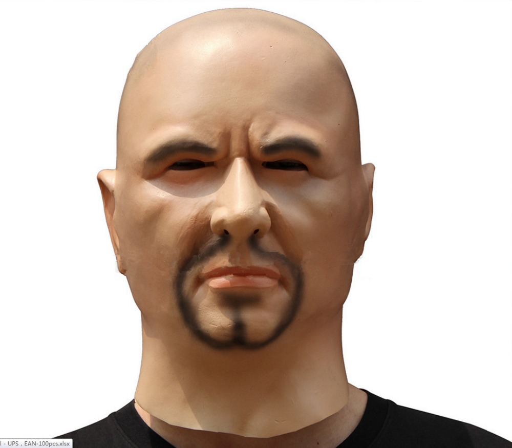 scary realistic latex mask black male man disguise goatee beard mask