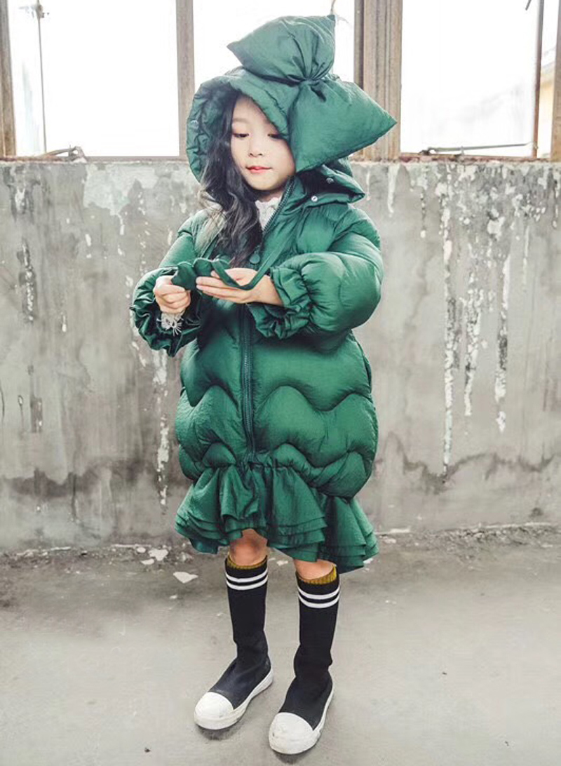 2018Winter Down jacket for girls Fur collar Bow hooded long down Coats For Teenage Outwear Fishtail skirt Thickening Warm coat mens long winter camouflage jacket fur hooded down 2017 outwear thick military style parkas male big coats army green camo 3xl