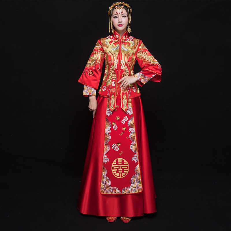 Vintage Asian Bride Wedding Qipao Noble Women Phoenix Embroidery Dress Red Chinese Style Cheongsam Traditional Marriage Suit
