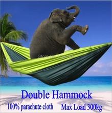 ポータブルナイロンパラシュートダブルハンモックガーデン屋外キャンプ旅行家具生存ハンモックスイング睡眠ベッド用2人