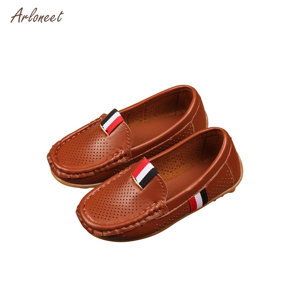 Children Kid Boys Girls Solid Leather Hollow Lazy Sneaker Casual Shoes _F19