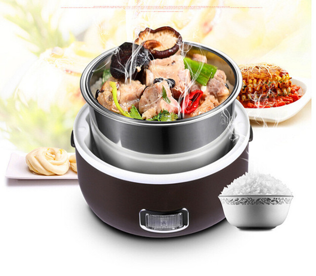 2 in 1 Portable Lunch Box Electric Rice Cooker