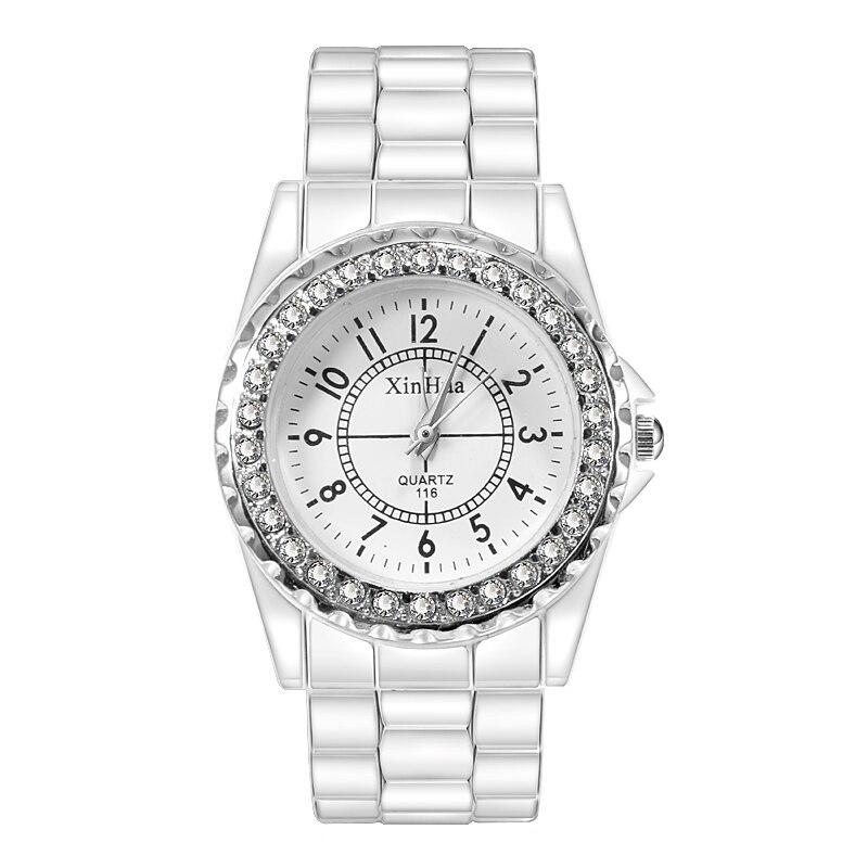 Xirhua Women Watch White Stainless Steel Ceramic Watches Women Bayan Kol Saati Fashion Luxury Ladies Watch Reloj Mujer 2019