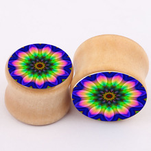 blue flower new explosion of real wood bones ear piercing jewelry earrings expansion PLUG tunnel body jewelry