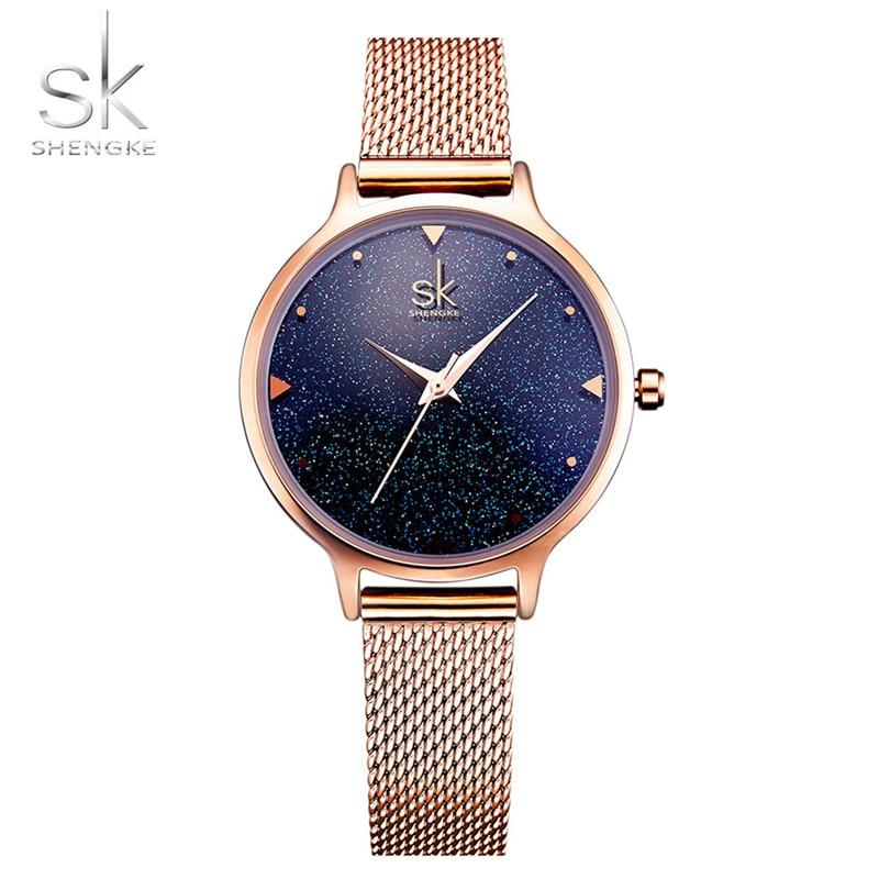 SHENGKE Brand Luxury Starry Sky Rose Gold Ladies Dress Milan Strap Womens Quartz Waterproof Watch Female 070209