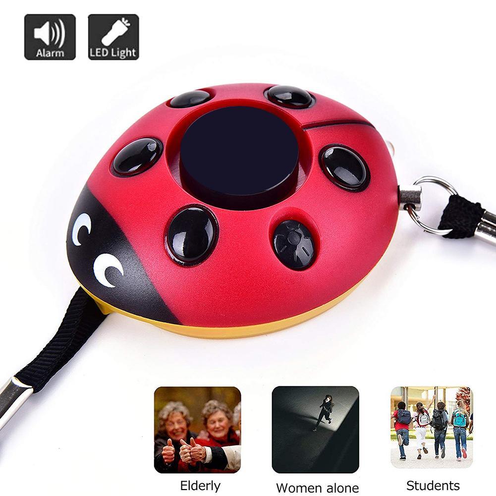 Women 130db Safety Emergency Alarm Led Light Ladybug Shape Self Defense Siren
