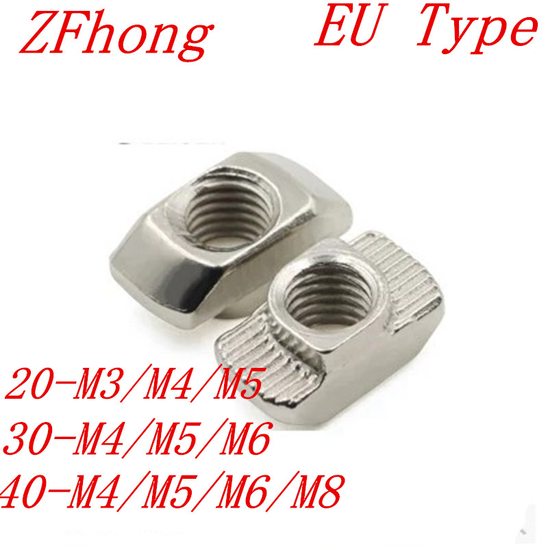 20PCS M3 M4 M5 M6 M8 Hammer Head T nut Fasten Nut Connector Nickel Plated for 2020 3030 4040 aluminum profile цена