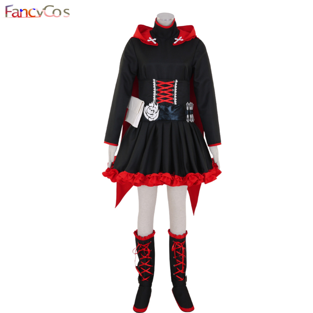 Halloween Women's RWBY Ruby Ruby Rose Red Trailer Dress Cloak Cosplay Costume High Quality Custom Made