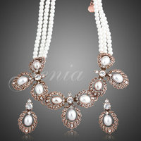 New Imitation Pearl Strand Earrings And Necklace Jewelry Sets Vintage Flower Design Jewelry Accessories FREE SHIPPING