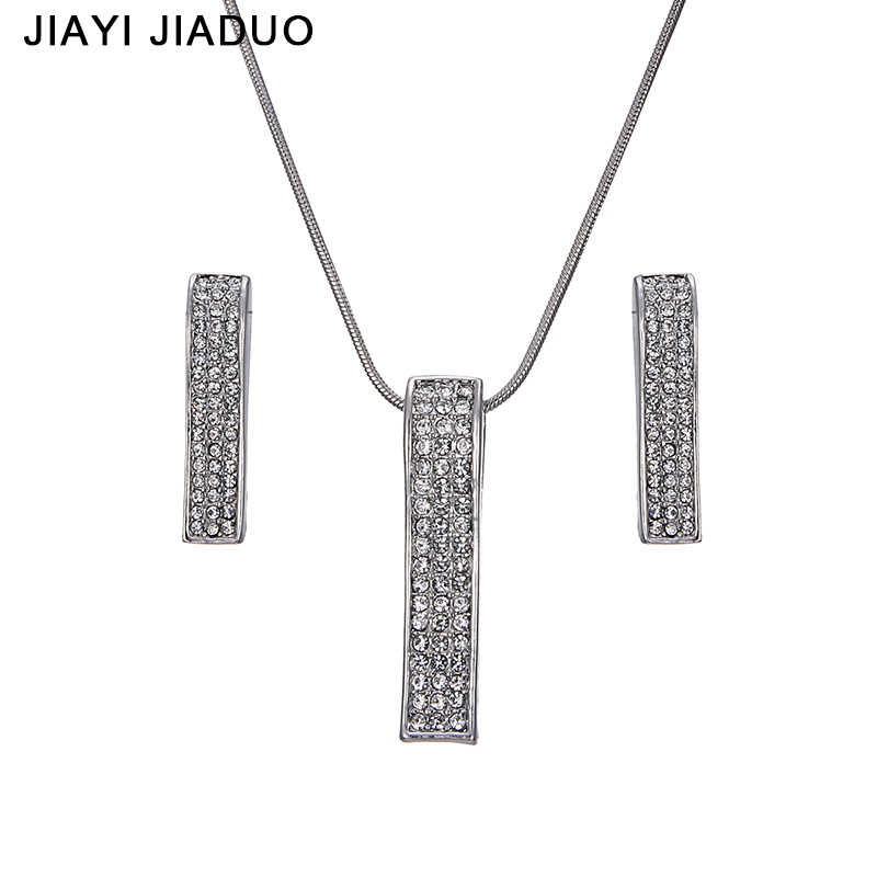 jiayijiaduo Charming Bridal jewelry set shipping 2017 Silver Necklace earrings For women gift jewelry of Wedding Party Costume