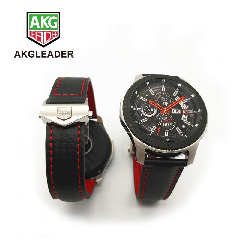 Bracelet de montre AKGLEADER en Fiber de carbone en cuir véritable pour Samsung Galaxy Watch 46/42mm Gear S3 Classic Frontier Huawei GT 22mm