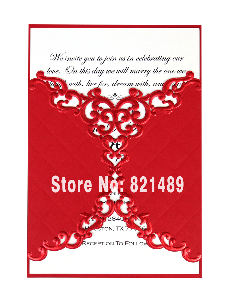 Chinese Old Age Wedding Invitation Card; Fancy Red Lace Invitation ...