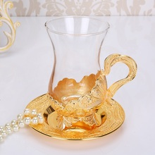 European coffee cup metal alloy  minimalist creative glass set with insulated top Mark