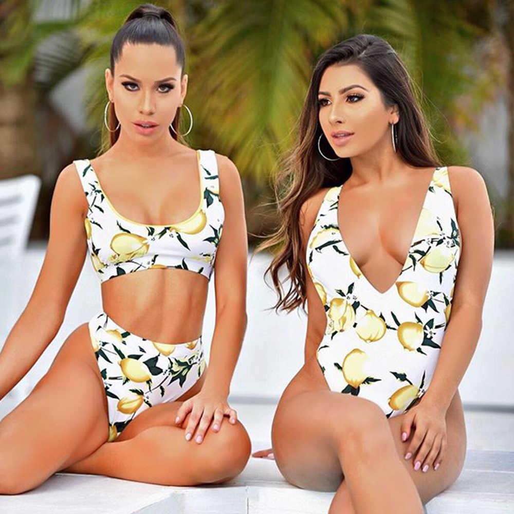 2019 letnie owoce lemon Bikini zestaw odświeżający słodki i kwaśny lemon druku strój kąpielowy Sexy kobiety Bikini Set Sexy kobiet kostiumy kąpielowe Biquini