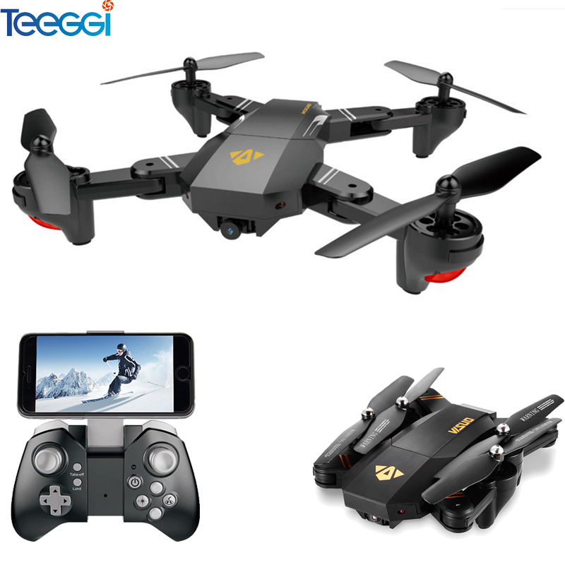 VISUO Xs809HW Xs809W Pieghevole Drone con la Macchina Fotografica HD 2MP Grandangolare WIFI FPV il Mantenimento di Quota RC Quadcopter Elicottero VS H47 dron