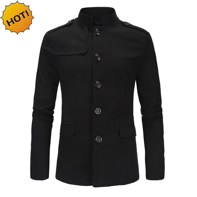 Nueva 2017 otoño invierno Casual Ciudad Interior Para Hombre Chino Collar traje túnica Straight slim fit Blazers masculino abrigo gris negro