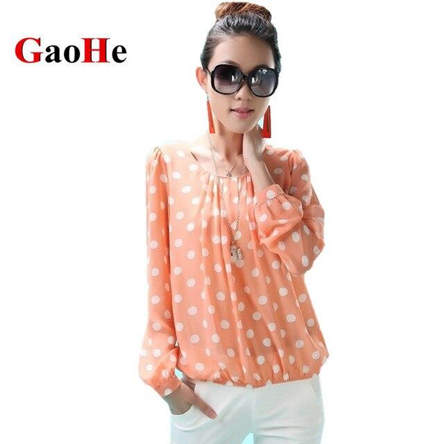 Рубашки женские Блузки Весна Лето Мода Топы Свободные Длинным Рукавом Марка Одежды Плюс Размер Горошек Шифон Блузка