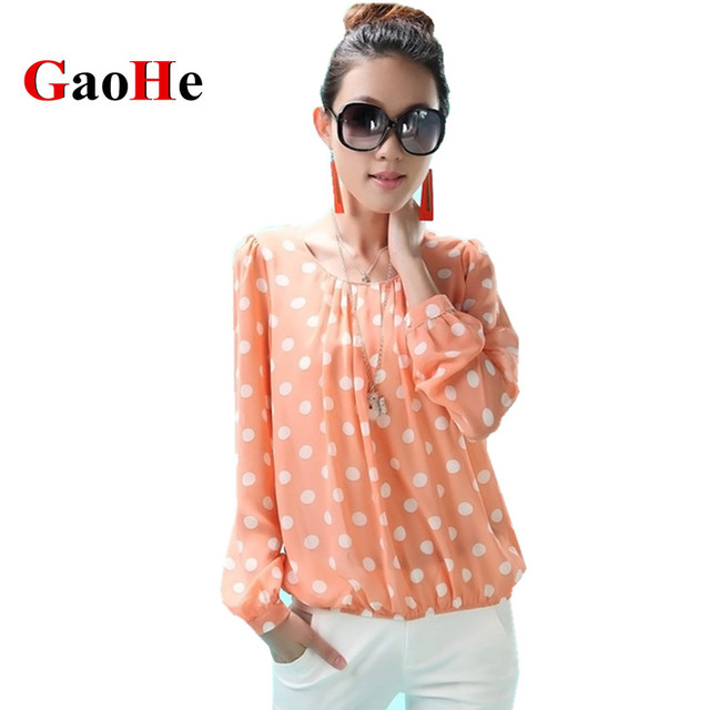 Women Shirts Blouses Spring Summer Fashion Tops Loose Long Sleeve Shirt Brand Clothing Plus Size Polka Dot Chiffon Blouse