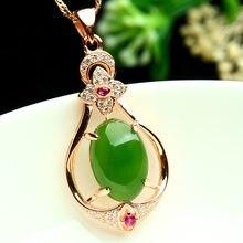 Collar de Jade de oro rosa de 18K para mujer, colgante, joyería de oro de 18k, bisutería femenina, cadena de bizutería de jade, naszyjnik